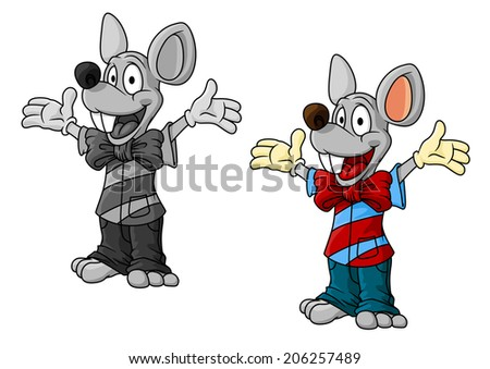 Happy cartoon mouse characters in clothes waving their arms and laughing, one in color and one greyscale, cartoon illustration on white - stock vector