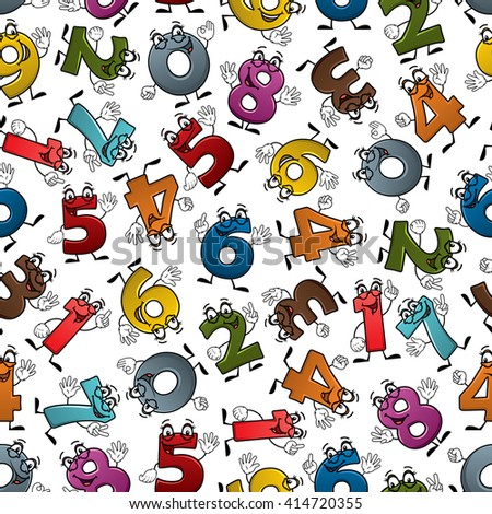 Happy cartoon numbers characters seamless pattern of smiling digits with waving hands, randomly scattered over white background. May be use for childish room interior or education theme design
