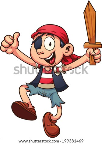 Happy cartoon pirate jumping. Vector clip art illustration with simple gradients. All in a single layer.  - stock vector