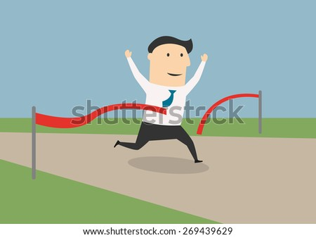 Happy cartoon running businessman crossing the finish line, for business competition or success concept design - stock vector