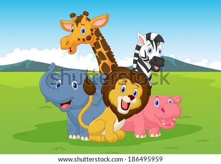 Happy cartoon safari animal  - stock vector
