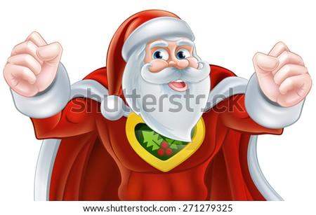 Happy cartoon Santa Claus Christmas superhero character - stock vector