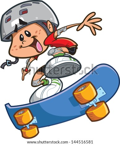 Happy Cartoon Skateboard Boy Wearing a Helmet and Doing a Cool Trick - stock vector