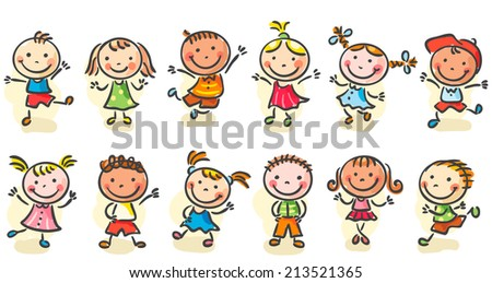 Happy cartoon sketchy kids jumping or dancing - stock vector