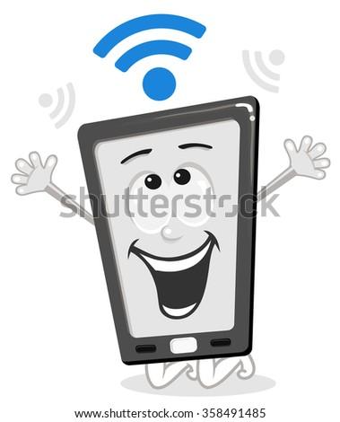 Happy cartoon smart phone with wi fi - stock vector
