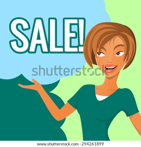 Happy cartoon woman illustration with sale sign. Vector illustration