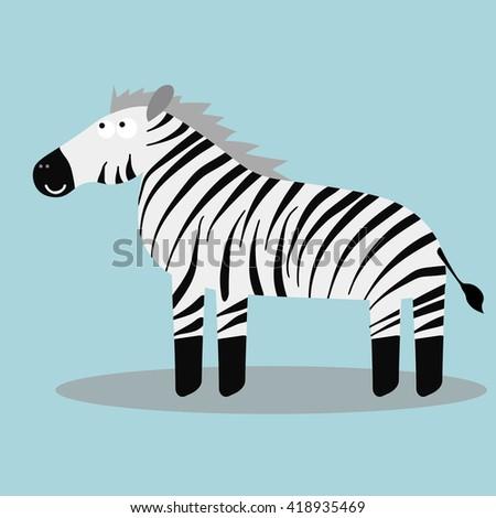 Happy cartoon zebra. Vector illustration - stock vector