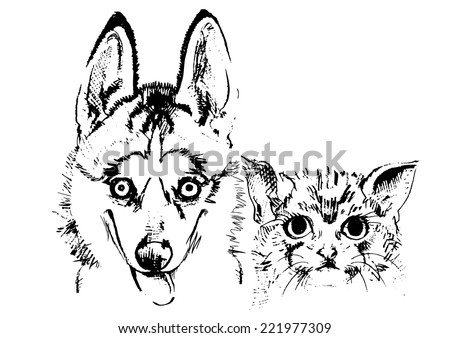 Happy Cat and dog sketch vector isolates. - stock vector
