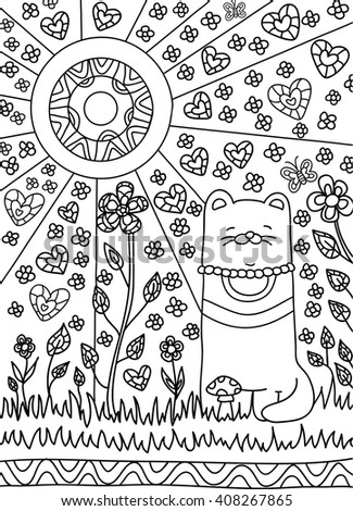 happy cat in the garden among the flowers, the sun is shining bright. Black and white background, coloring book, coloring pages, coloring outline, line art coloring - stock vector