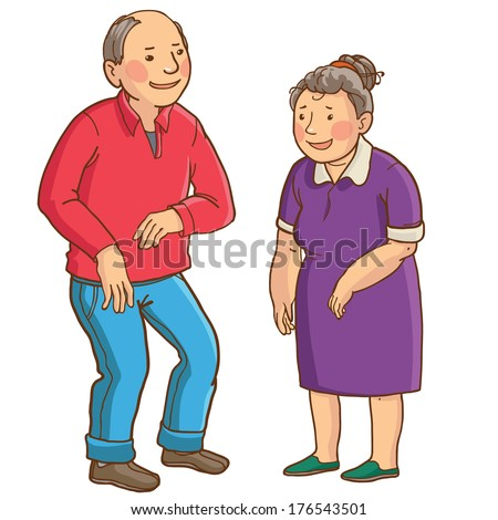 Happy caucasian senior couple. Isolated objects on white background. Great illustration for school books. magazines, advertising  and more. VECTOR. - stock vector