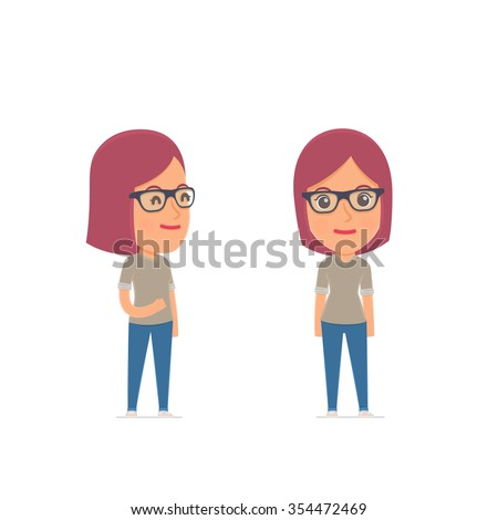 Happy Character Girl Designer standing in relaxed pose. for use in presentations, etc. - stock vector