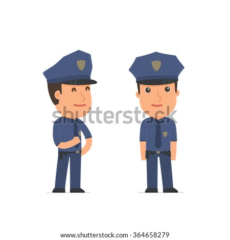 Happy Character Officer standing in relaxed pose. for use in presentations, etc.