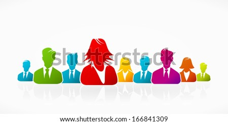 Happy cheerful business silhouettes expressing unity - stock vector