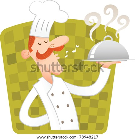 Happy chef carrying covered dish - stock vector