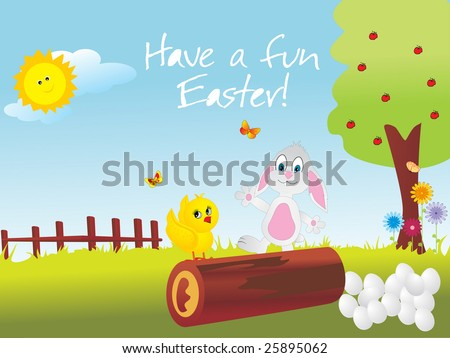happy chick and bunny playing in the garden - stock vector