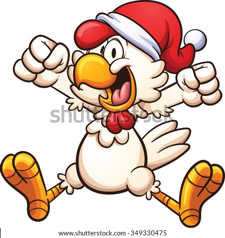 Happy chicken with a Christmas hat. Vector clip art illustration with simple gradients. All in a single layer. - stock vector