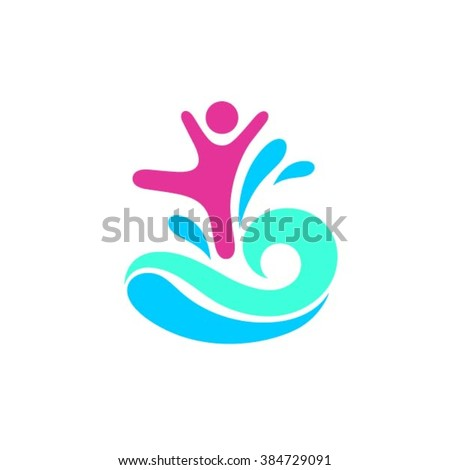 Happy child and active lifestyle logo - stock vector