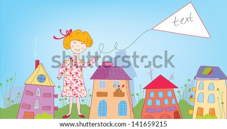 Happy child girl in the town with banner for text - stock vector