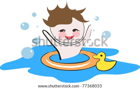 Happy child playing in a water isolated vector illustration - stock vector