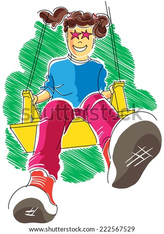 Happy child playing on the swing - stock vector