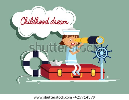 Happy child playing with vintage nautical things. Kid having fun. Summer sea dream and imagination. Adventure and travel concept. Chidhood dream. Sailor child. - stock vector