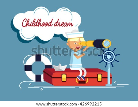 Happy child playing with vintage nautical things. Kid having fun. Summer sea dream and imagination. Adventure and travel concept. Childhood dream. Sailor child. - stock vector