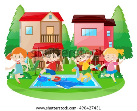 Happy children at the swimming pool illustration