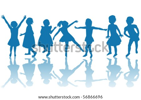 Happy children blue silhouettes - stock vector