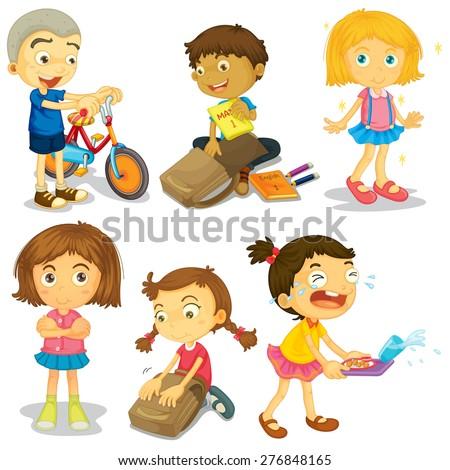 Happy children doing different activities - stock vector