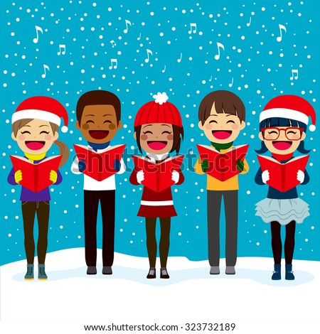 Happy children friends from different ethnicities singing carols at Christmas night - stock vector