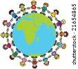 Happy children holding hands around the world - stock photo