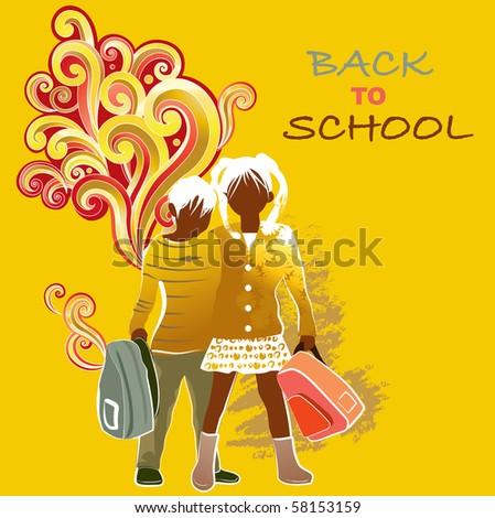 Happy children hugging, back to school - stock vector