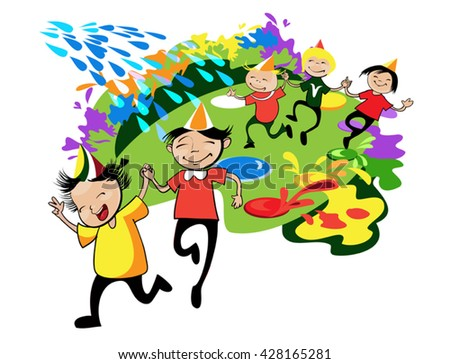 happy children in colorful caps run on green meadow among colorful splash - stock vector