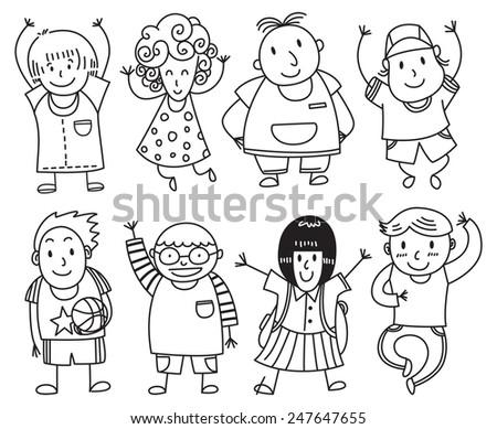 happy children lined up - stock vector
