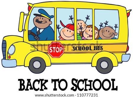 Happy Children On School Bus And Text - stock vector
