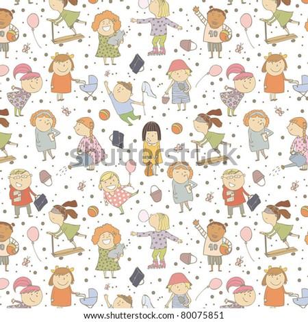 Happy children pattern - stock vector
