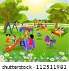 happy children playing - stock vector