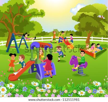 happy children playing - stock vector