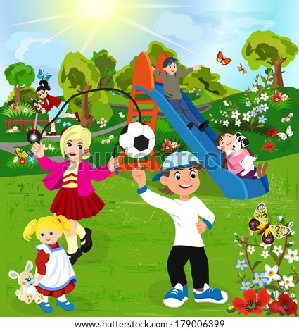 Happy children playing in green park  - stock vector