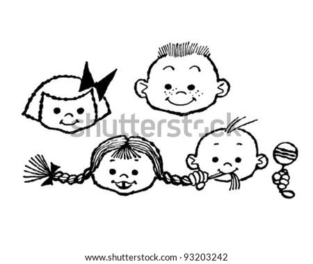 Happy Children - Retro Clipart Illustration - stock vector