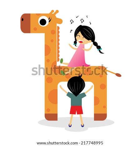 Happy children ride on giraffe - stock vector