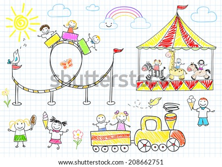 Happy children ride on the carousel. Sketch on notebook page - stock vector