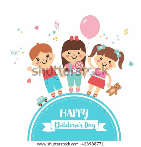 Happy children's day. Cartoon collection with sweet children on blue frame. Boys and girls character with toys. Teddy, balloon, candy, car. Perfect for invitations, banners and greeting cards. - stock vector
