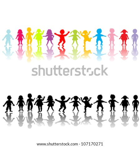 Happy children silhouettes - stock vector