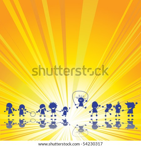 Happy children silhouettes over summer sun rays background - stock vector