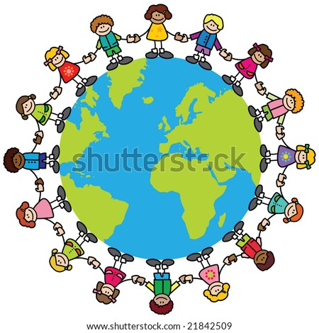 Happy children (variety of skintones) holding hands around the world - stock vector