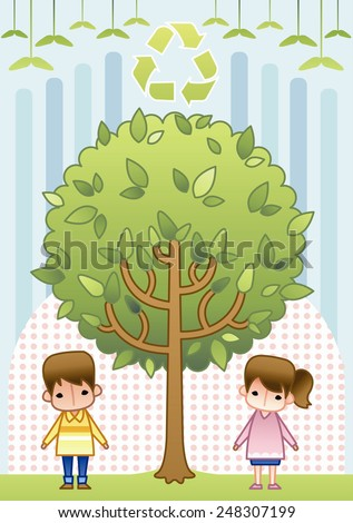 Happy Children with a tree on a background with blue stripe and pink dot patterns : vector illustration - stock vector
