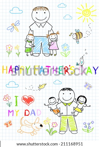 Happy children with dad. Sketch on notebook page - stock vector