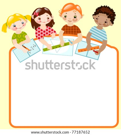 happy children with pencils and rulers. place for your text - stock vector