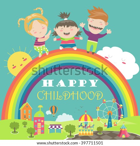 Happy children with rainbow and carousel - stock vector